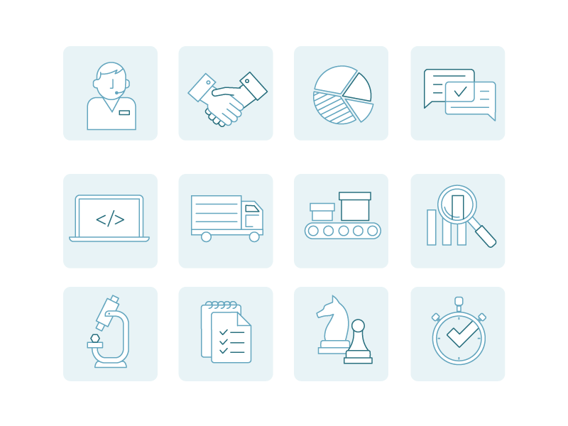 Custom Icon Set corporate set vector illustration iconography icons