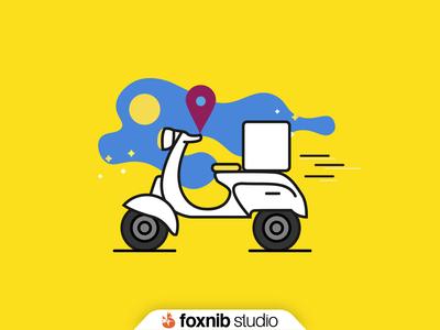 Delivery Bike Illustration for Laundream App