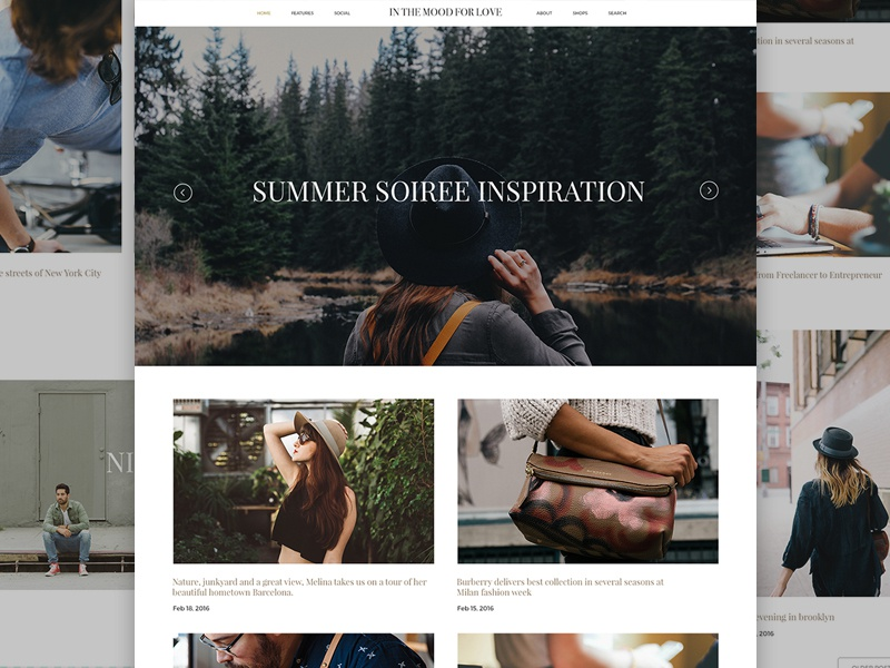 In the mood for love food fashion travel landingpage website design layout blog