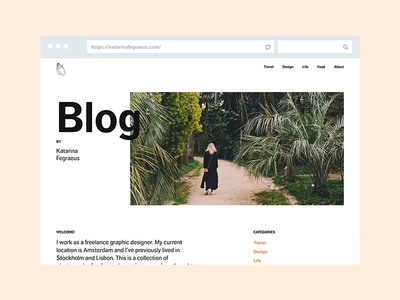 Blog by Katarina Fegraeus blog web design website layout photography desktop