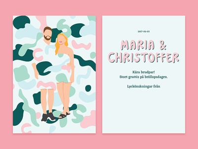 Maria & Christoffer card design blue pink print illustration wedding