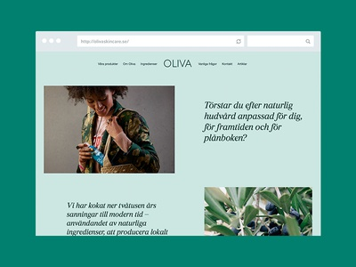 Oliva product green website web design layout desktop