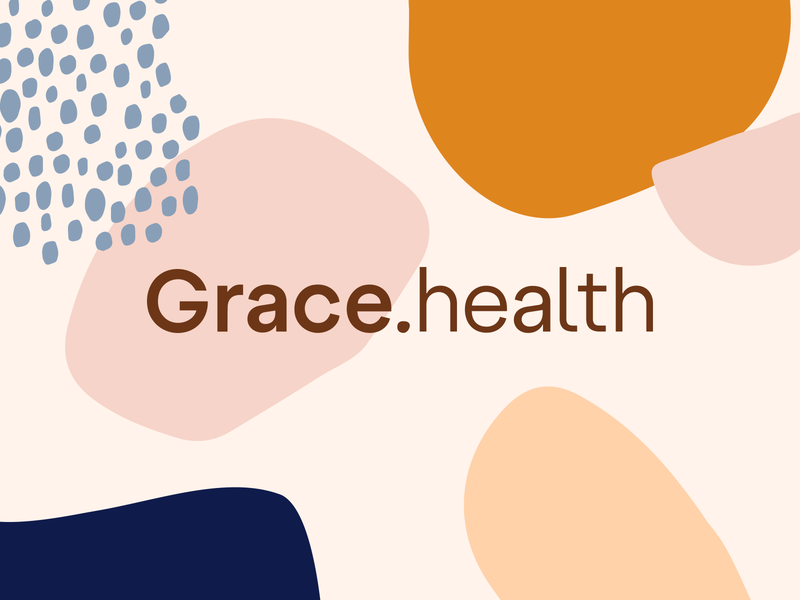 Grace Health illustration logotype shapes identity branding
