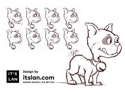Dog itslan.com animation expression cartoon dog design paint sketch