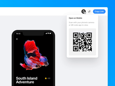 Preview and test your Framer prototypes on mobile share animation magic motion interactive app scan qr ui framer framer web prototype mobile test