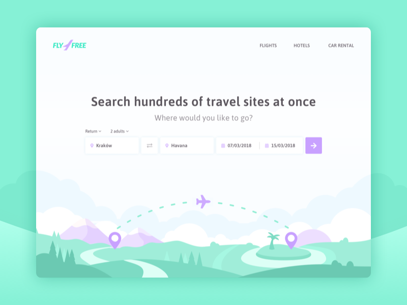 Search flights ui redesign interface web website flight booking search illustration map landscape