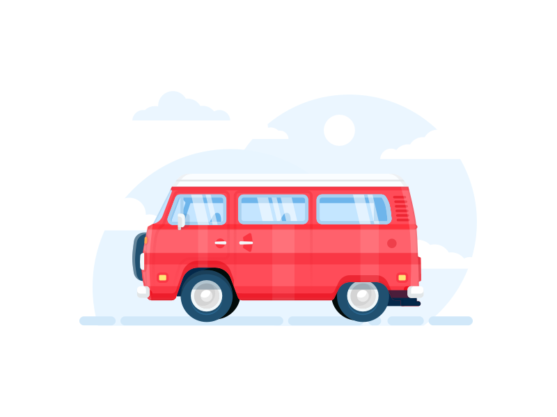 Ready To Go? holidays vw volkswagen van bus car illustration minimal flat