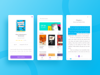 Reader & Player for Books book minimal player reader product library store interface mobile app ux ui