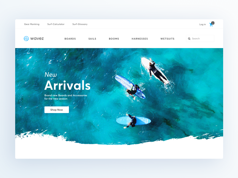 Online Store for Surfers ui sport water clothing surfshop surfing store ecommerce page landing web