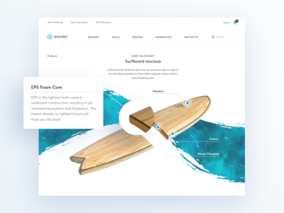 Surf-glossary from Online Store for Surfers surfing sport ux ui design web interface store ecommerce page structure wiki