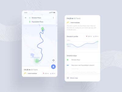Hiking Application - Navigation & Directions android ios navigation map search trails routes travel hiking hike ux ui mobile app