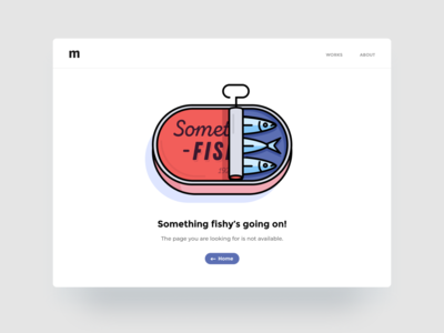 404 Page Not Found figma website error fishy fish not found 404 design minimal ux web interface illustration ui