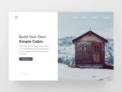 Cabin Plans - Scroll Animation minimal architecture website interaction landing page web scroll ui