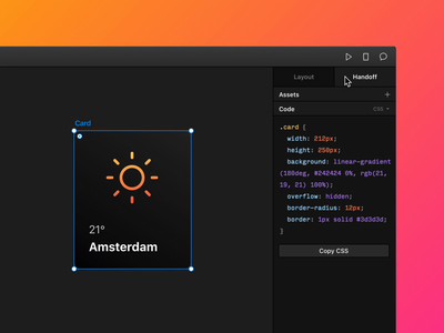 Framer X44: Handoff Tab interaction ui collaboration design code handover handoff gradient framerx framer dark animation