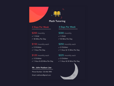 Pricing Table for Tutoring