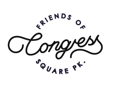 Friends Of congress Sq. Park friends type handwritten script logo mark congress community charity