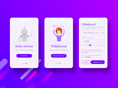 Onboarding cards and withdrawal panel investment cards banking fintech