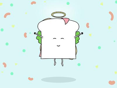 Saintwich happy funny food character sandwich