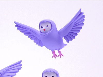 Barn Owl characterdesign character design 3d kawaii cute bird animal barnowl pantone ultraviolet owl