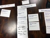 Card sorting for website onboarding