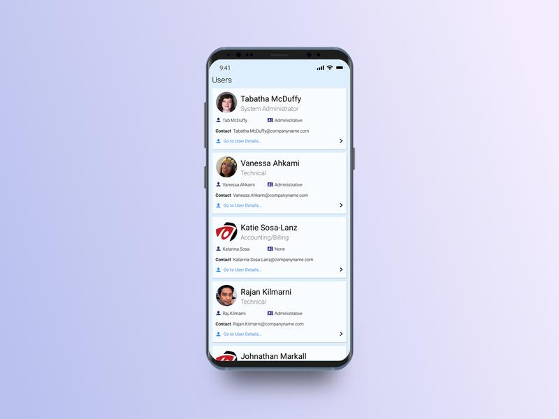 User List on Mobile