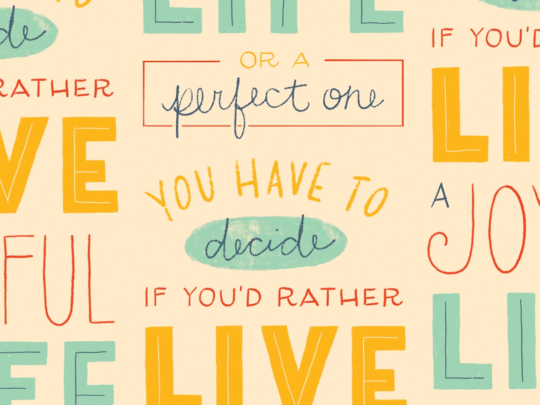 Joyful life hand lettering type typography drawing words quote hand-drawn orange blue yellow lettering letters illustration