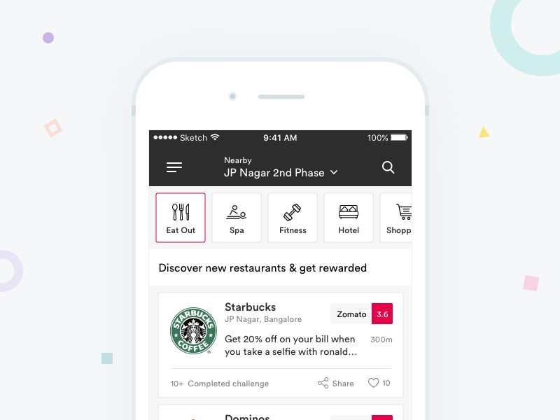 Stepout - Mobile App fun challenge discover cool nearby discount coupon mobile design minimal ux ios