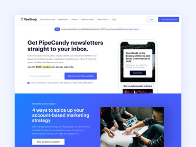 Bites | Newsletter landing page ux ui stuff simple pipecandy minimal fresh flat design clean newsletter blog