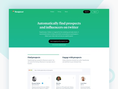 CandyTweet | Home Page ux ui simple pipecandy minimal fresh flat design clean blog twitter