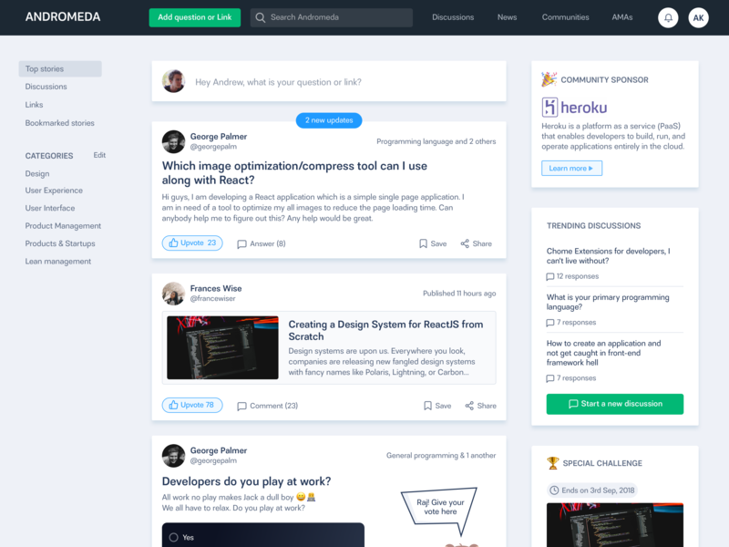 Andromeda | Developer Community feed discussions groups developers answers questions forum community blog clean ui ux minimal design