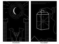 Tarot Cards (The Moon & Hermit)