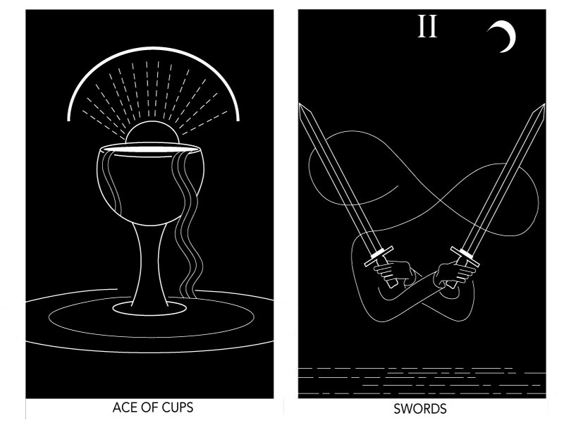 Tarot Cards - Ace of Cups & Two of Swords by Katherine Socha