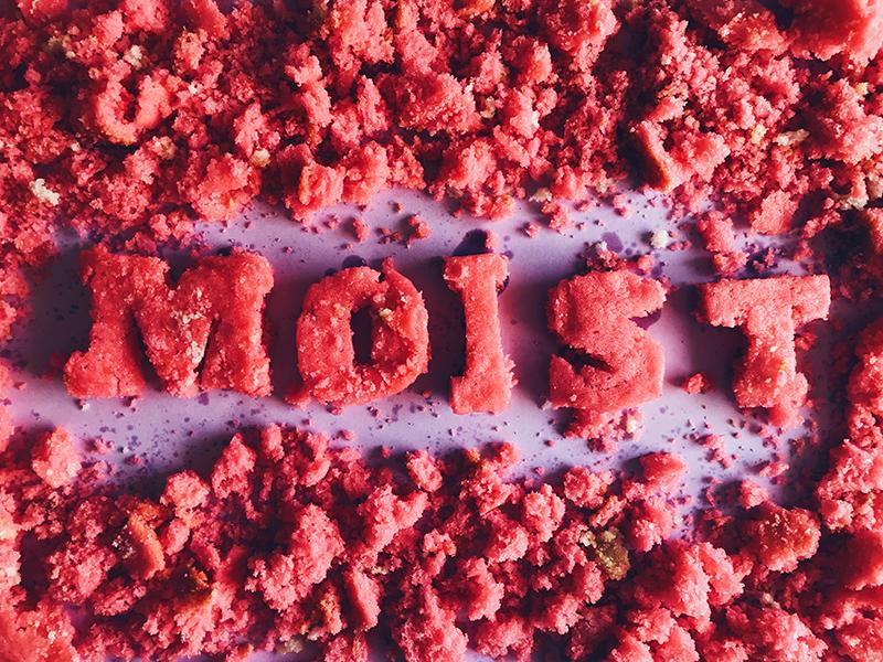 adjEATives- moist tactile type food art pink moist hand type food lettering food type cake