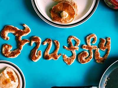 adjEATives- Fluffy dimensional type hand lettering adjeatives fluffy food type pancakes food lettering