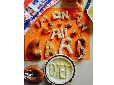 I'M ON AN ALL CARB DIET food lettering mean girl quote tactile type food type mean girls butter bagels food bread carbs