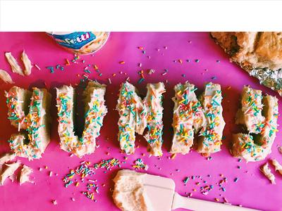 adjEATives: YUMMY dessert cake frosting funfetti food lettering food lettering design typography adjeatives hand lettering illustration food type