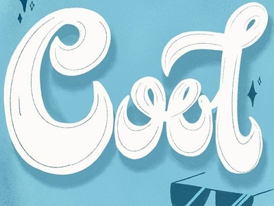 COOL illustration blue type hand lettering cool