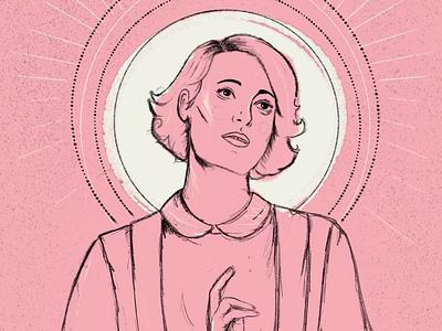 Fleabag wip pink television portrait illustration portrait illustration fleabag