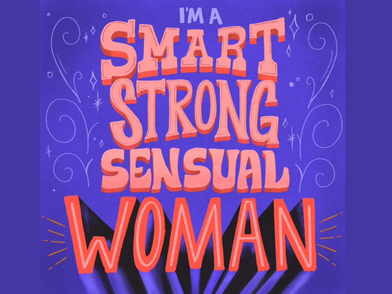 I'M A SMART, STRONG, SENSUAL WOMAN bobs burgers tina belcher typography type design lettering hand lettering