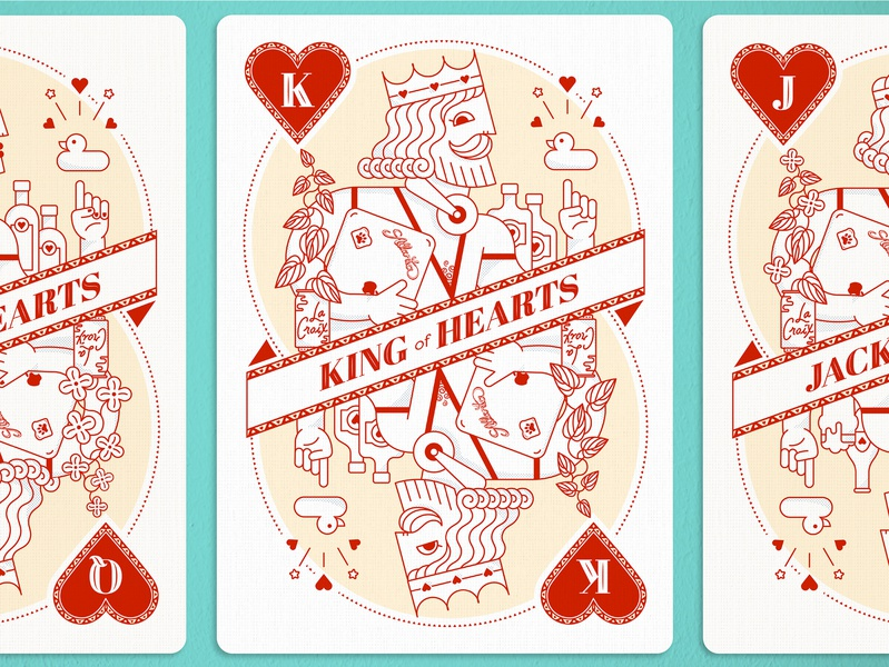 King of Hearts advertising la croix atlanta icons vector illustration creatives king of hearts card design playing cards