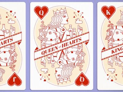 Queen of Hearts la croix atlanta advertising iocns vector illustration queen of hearts card design playing cards