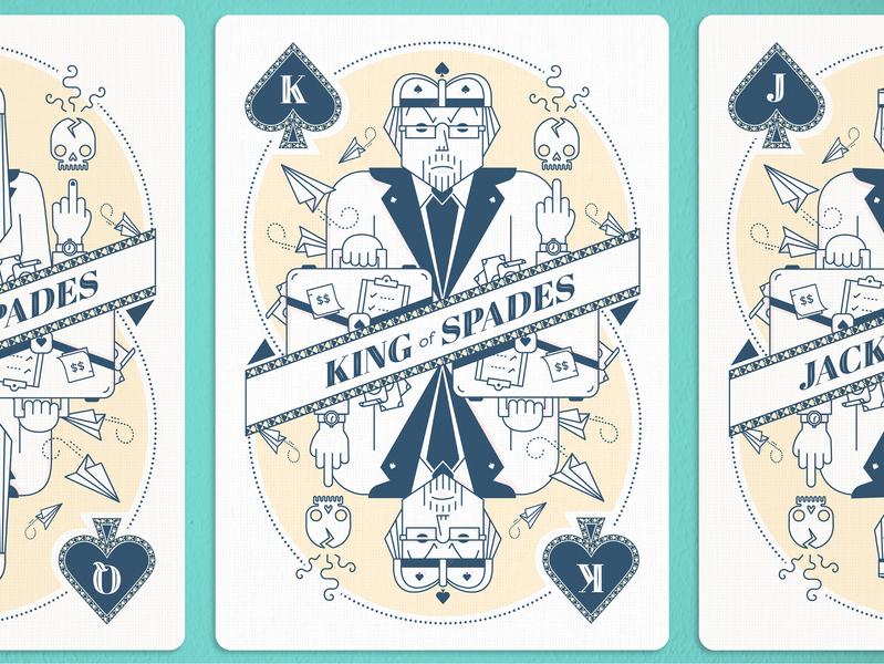 King of Spades advertising card game skulls atlanta icons vector illustration king of spades card design playing cards