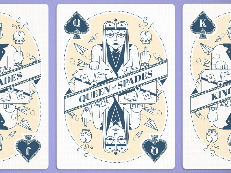 Queen of Spades card game skulls atlanta advertising iocns vector illustration queen of spades card design playing cards