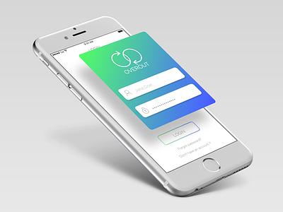 Overout App login typography web flat vector illustration app mobile design ux ui