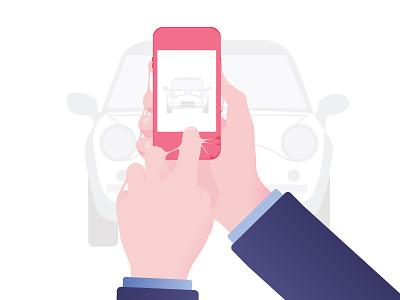Technological addictions #1 car iphone flat design typography phone technologies design flat vector illustration