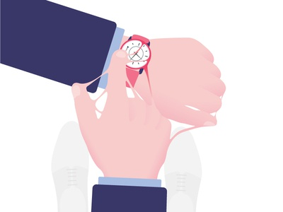 Technological addictions #4 vector typography technologies timing illustration watch flat design flat design time