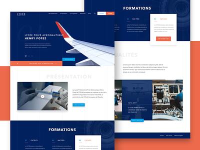Aviation School website landing page ui ux design homepage airbus webdesign website school technology aviation