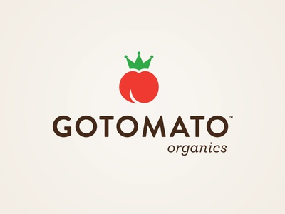 Gotomato Logo natural organic tomato vegetable plant gardening identity logo