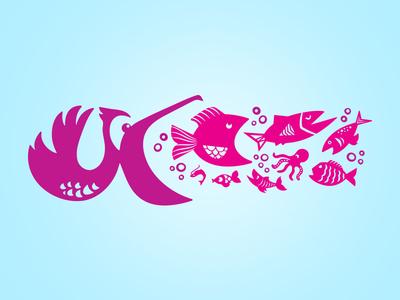 There's always a bigger...pelican bird pelican illustration marine ocean bubbles swimming sea fish