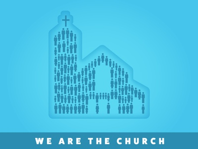 We Are the Church group together unity congregation building poster event icons people church promotion